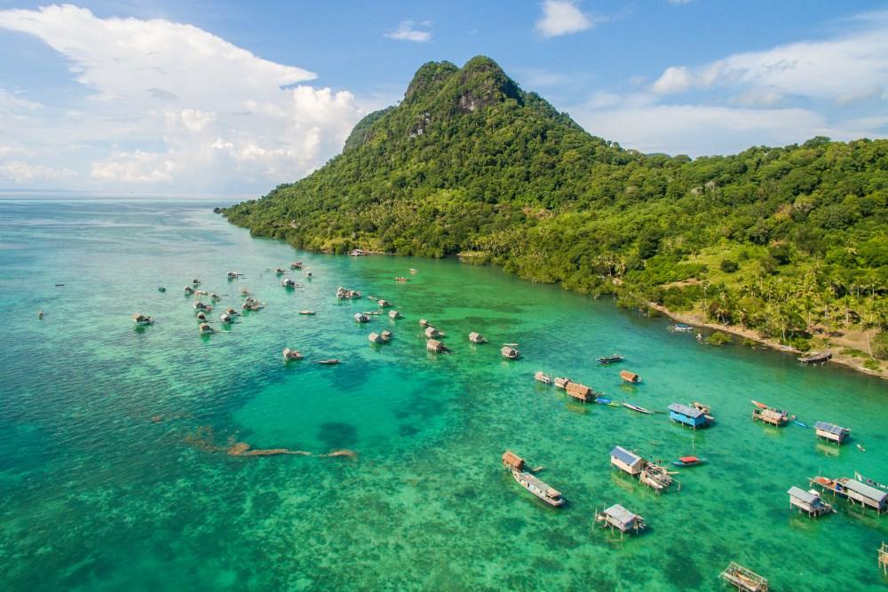 A water village on the west side of Bodgaya Island, Semporna Archipelago.