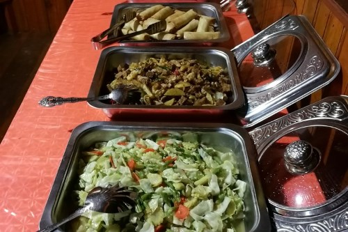 Meals are buffet style with local flavours.