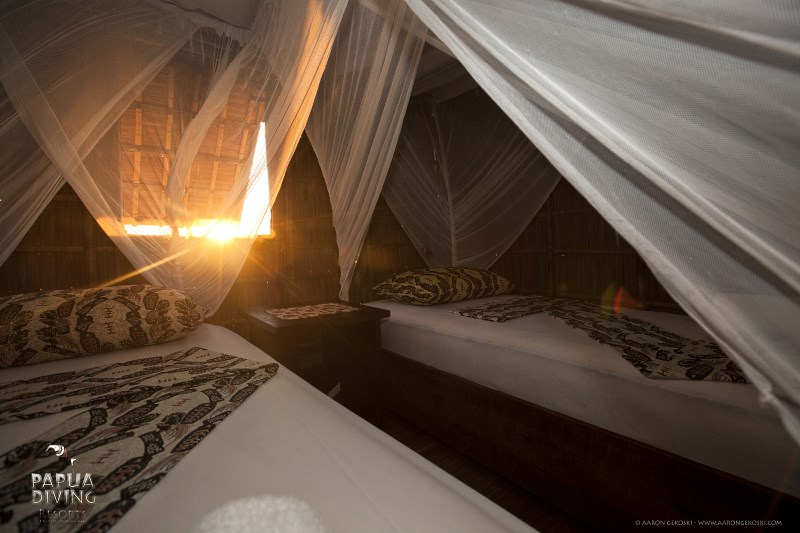 Papuan Cottage bedroom view.