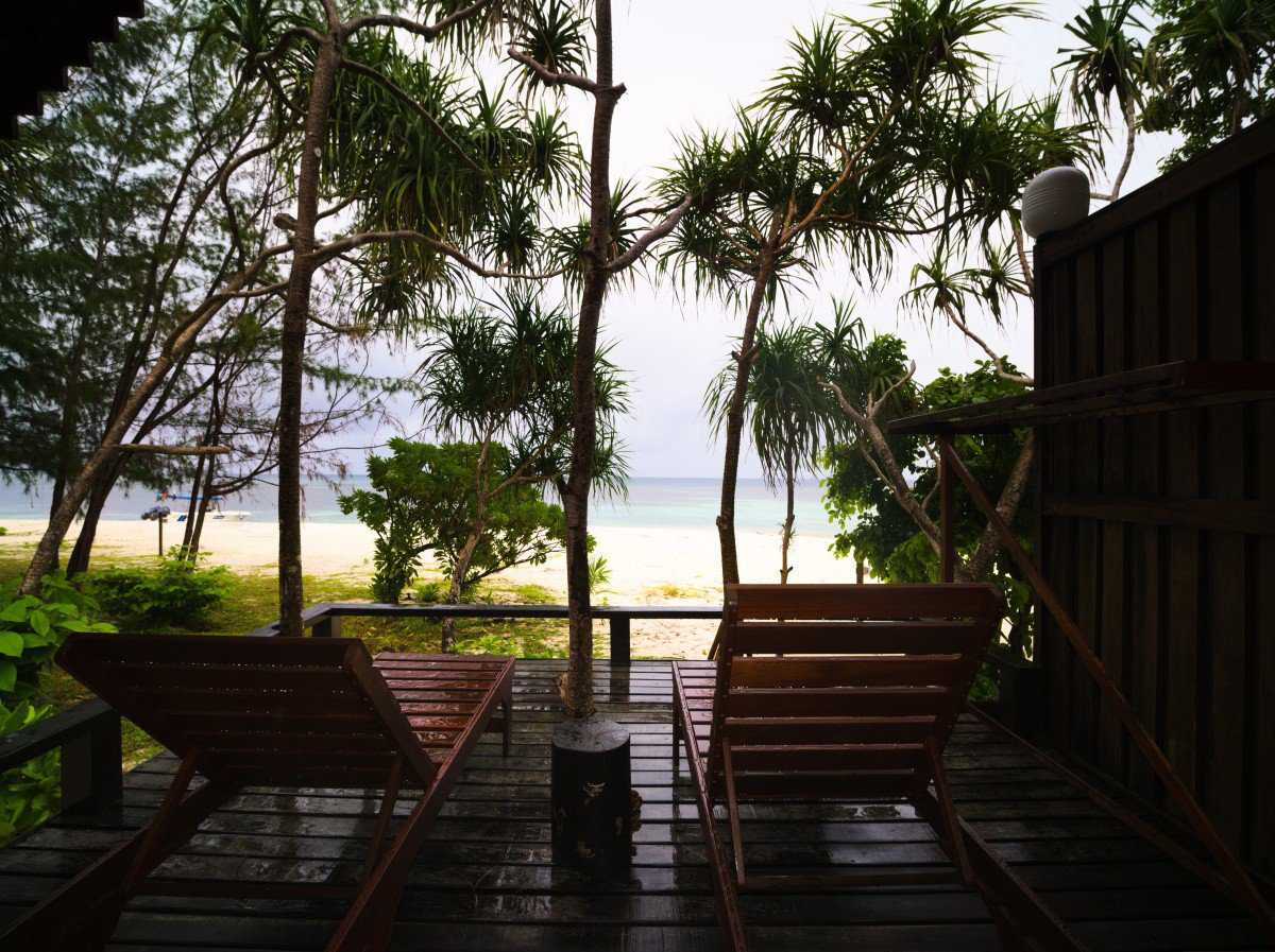 Honeymoon Beach Chalet balcony view.