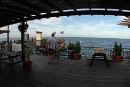 Diver's deck with the resort's own Fish Sanctuary house reef right in front of it.