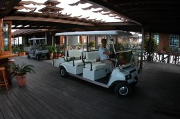Golf buggies will chauffer you between the resort and the island on request.