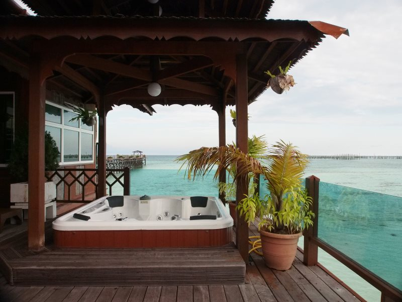 Borneo Villa Suite balcony with Jacuzzi.