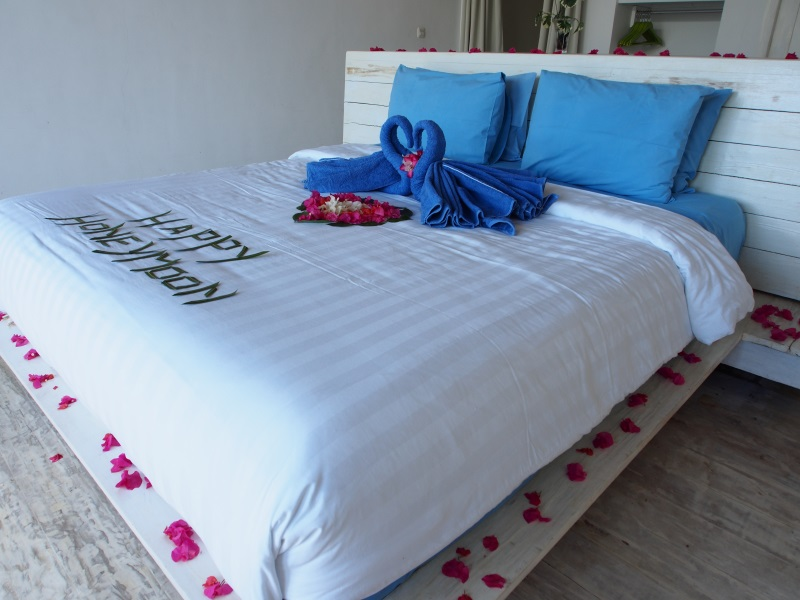 Beach View Room double bed shown.