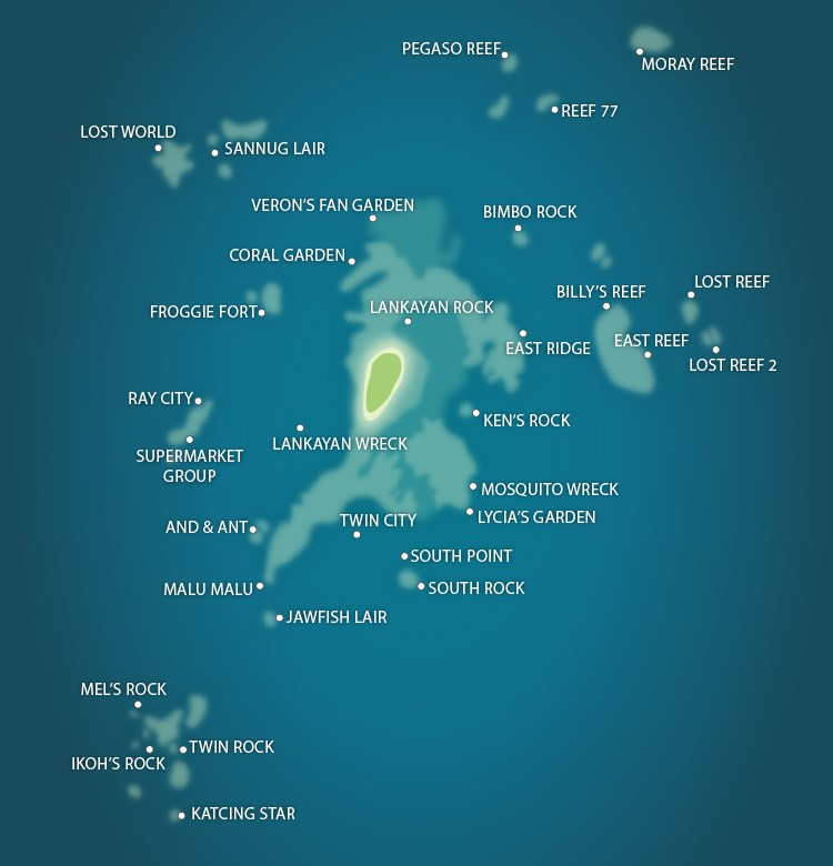 Lankayan Island Map of Dive Sites