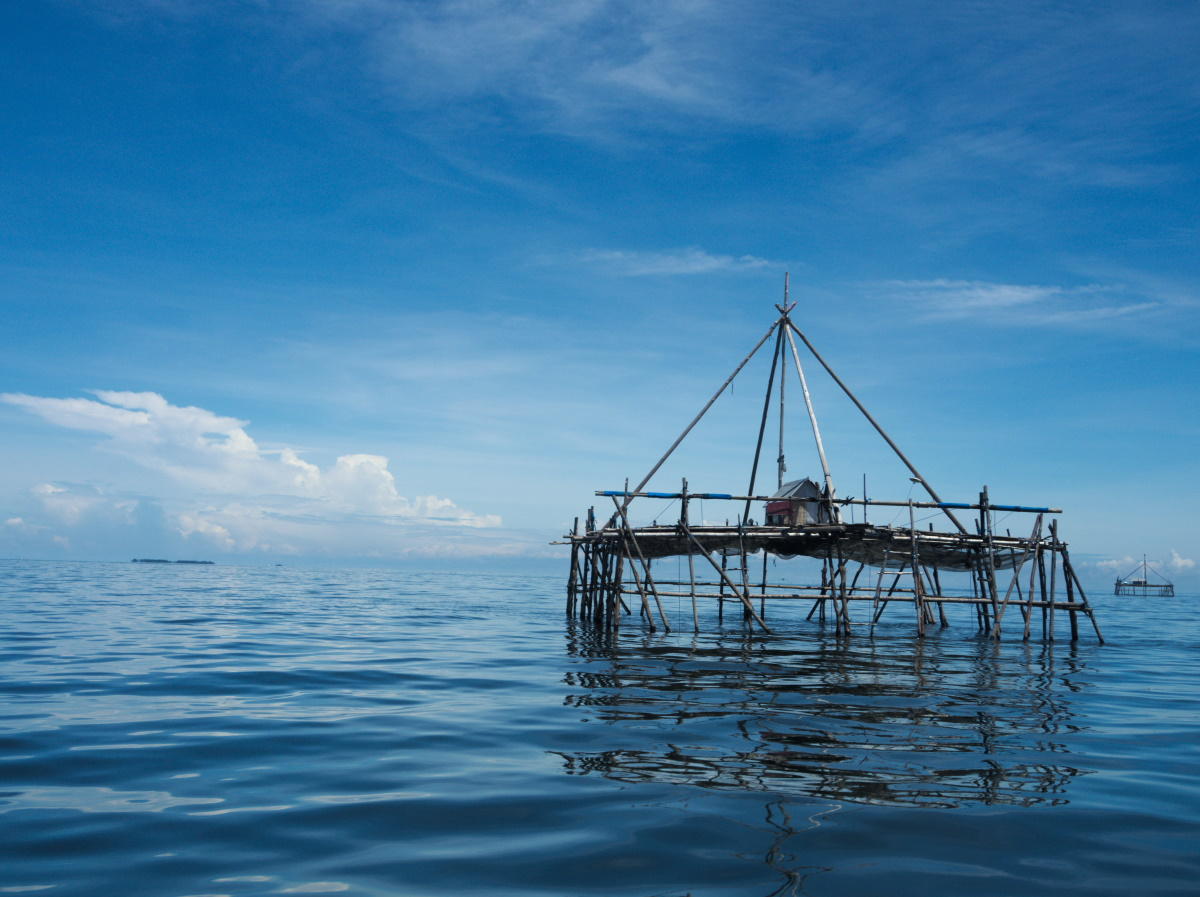 Bagang, a floating anchovy fishing platform in the Celebes Sea, halfway between East Kalimantan and Maratua Island.